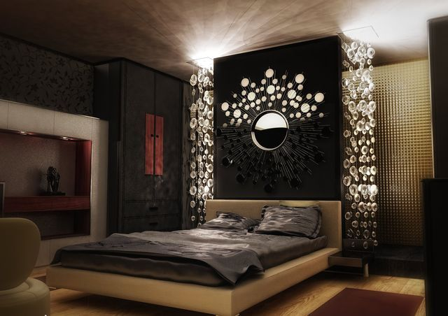 Dark colors in the interior of the bedroom