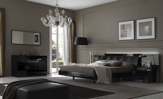 Bedroom interior in dark gray shades