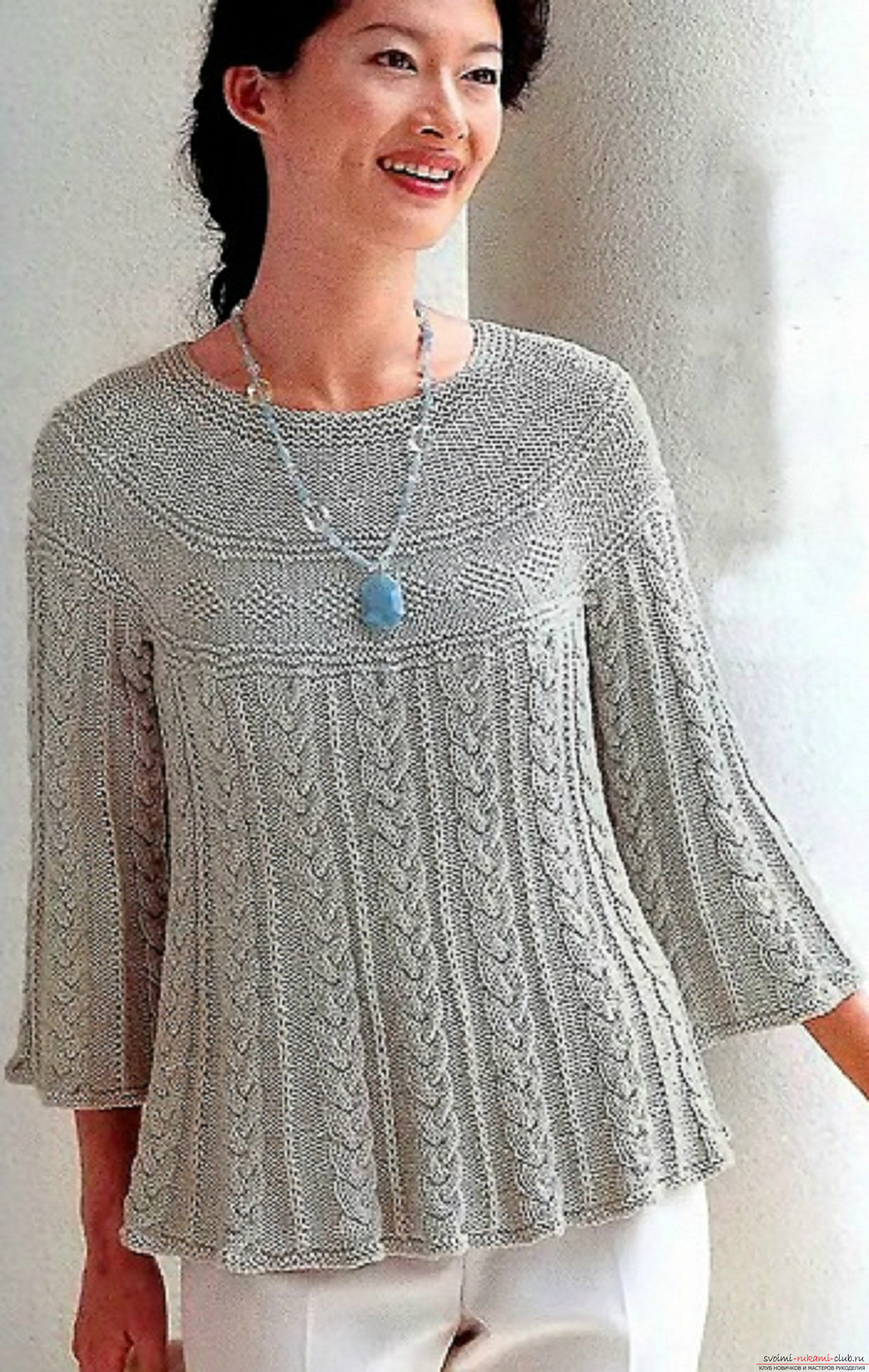 a knitted woman 's tunic. Photo №1
