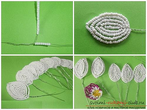 How to weave white orchid from beads, master class with photo and description .. Photo # 3
