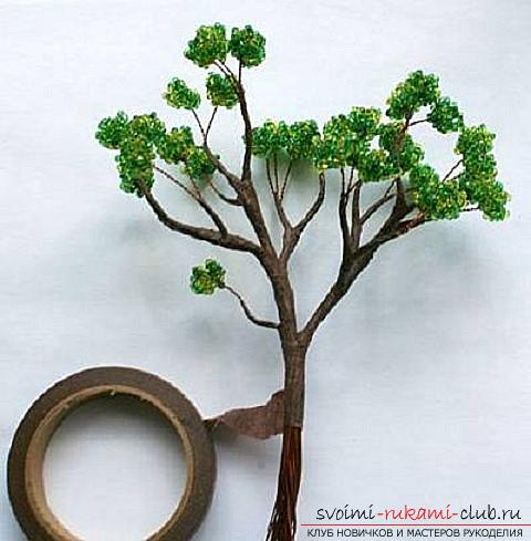 Free detailed lessons on weaving of beads bonsai in different shades. Photo # 23