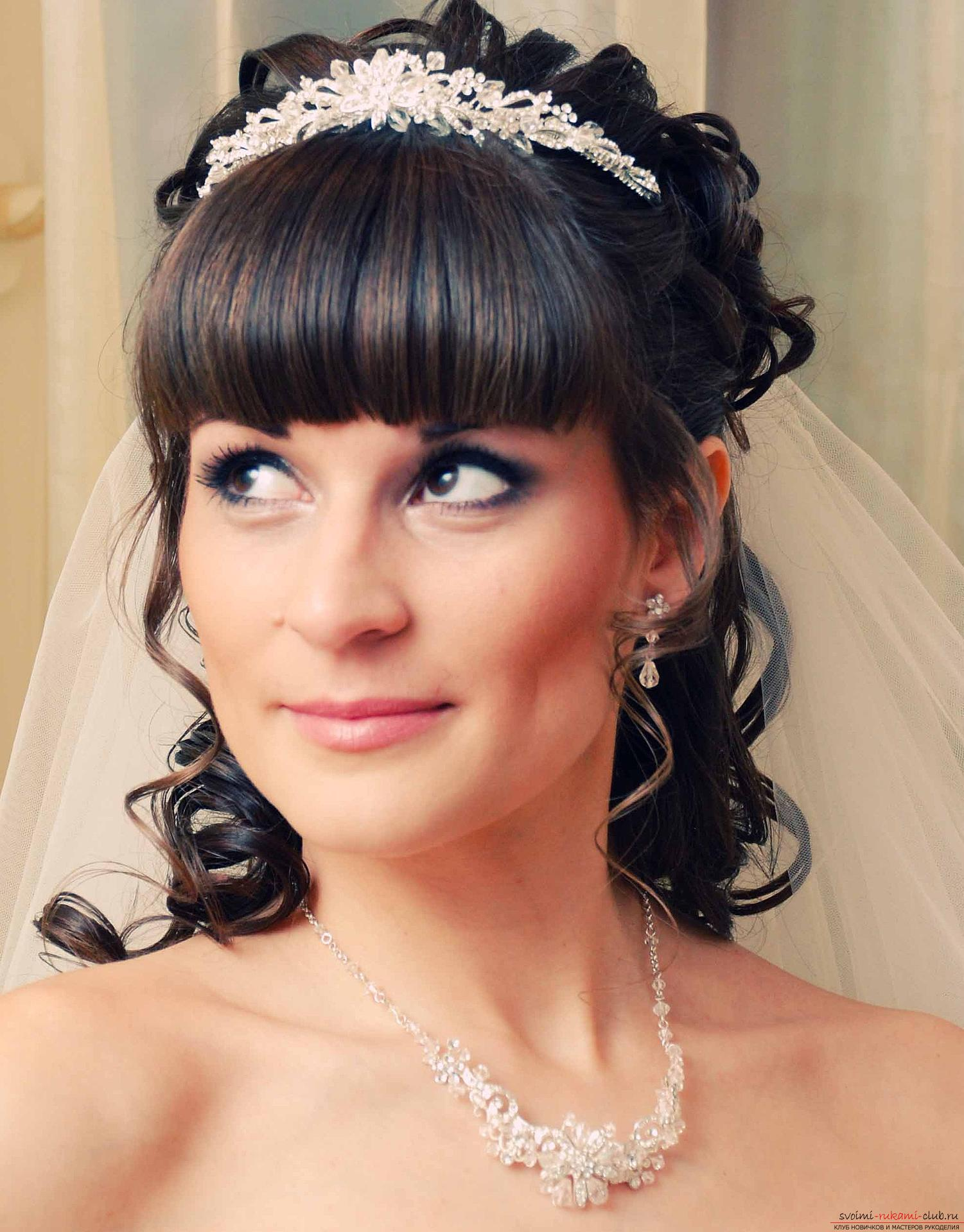 Hairstyles with bangs for the bride. Photo №4