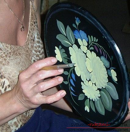 Zhostovo painting for the tray - pictures and flowers with their own hands. Picture №3