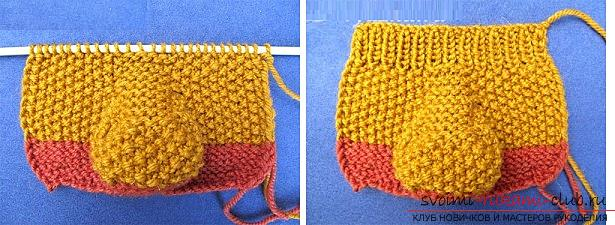 How to knit booties, knitting options on two and five spokes, with a seam on the sole and on the side, a seamless version, step-by-step photos and description. Photo №13