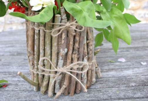 Glass jar vase and twigs