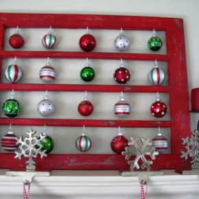 Christmas decorations in a frame