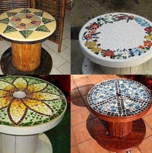 decor with a mosaic table from a coil