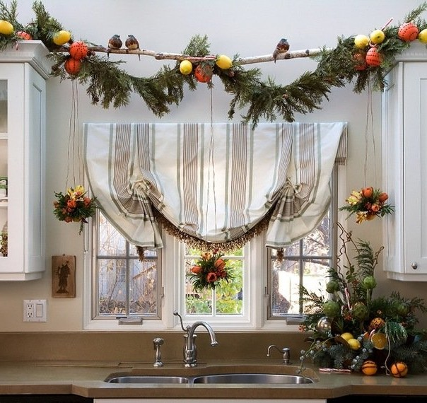 New Year's window decoration with natural materials