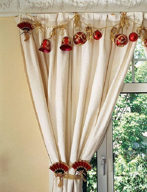 New Year's decor of curtains