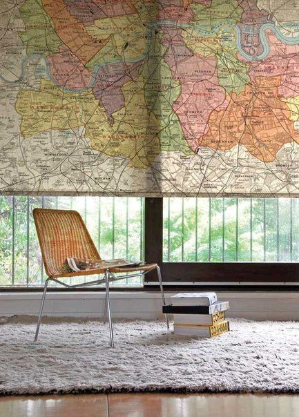 decor of windows with maps