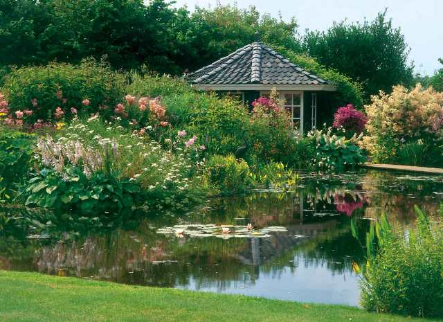 ornamental pond with pergola
