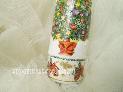 Decoupage bottles for the New Year: master class