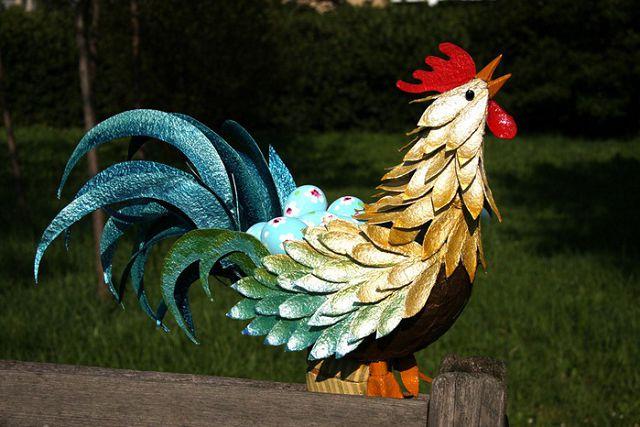 Cockerel made of paper