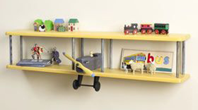 Wooden shelves in the form of aircraft