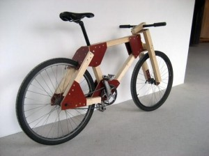 Wooden bicycle.
