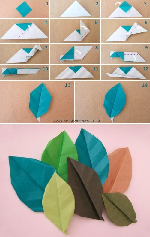 Children's autumn crafts made of paper. origami