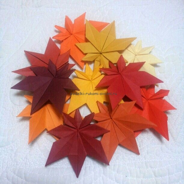 Autumn crafts made of paper. origami