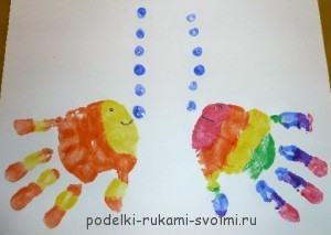 Children's crafts. What can be done from fingerprints (4)