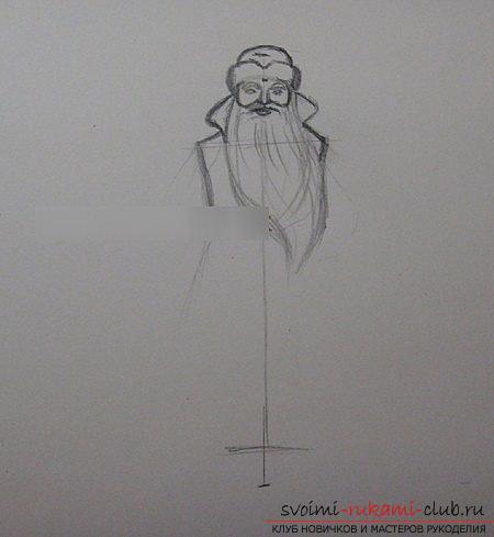 Een les van Nieuwjaarstekening van de Sneeuwmeisje en de Kerstman. Afbeelding №3