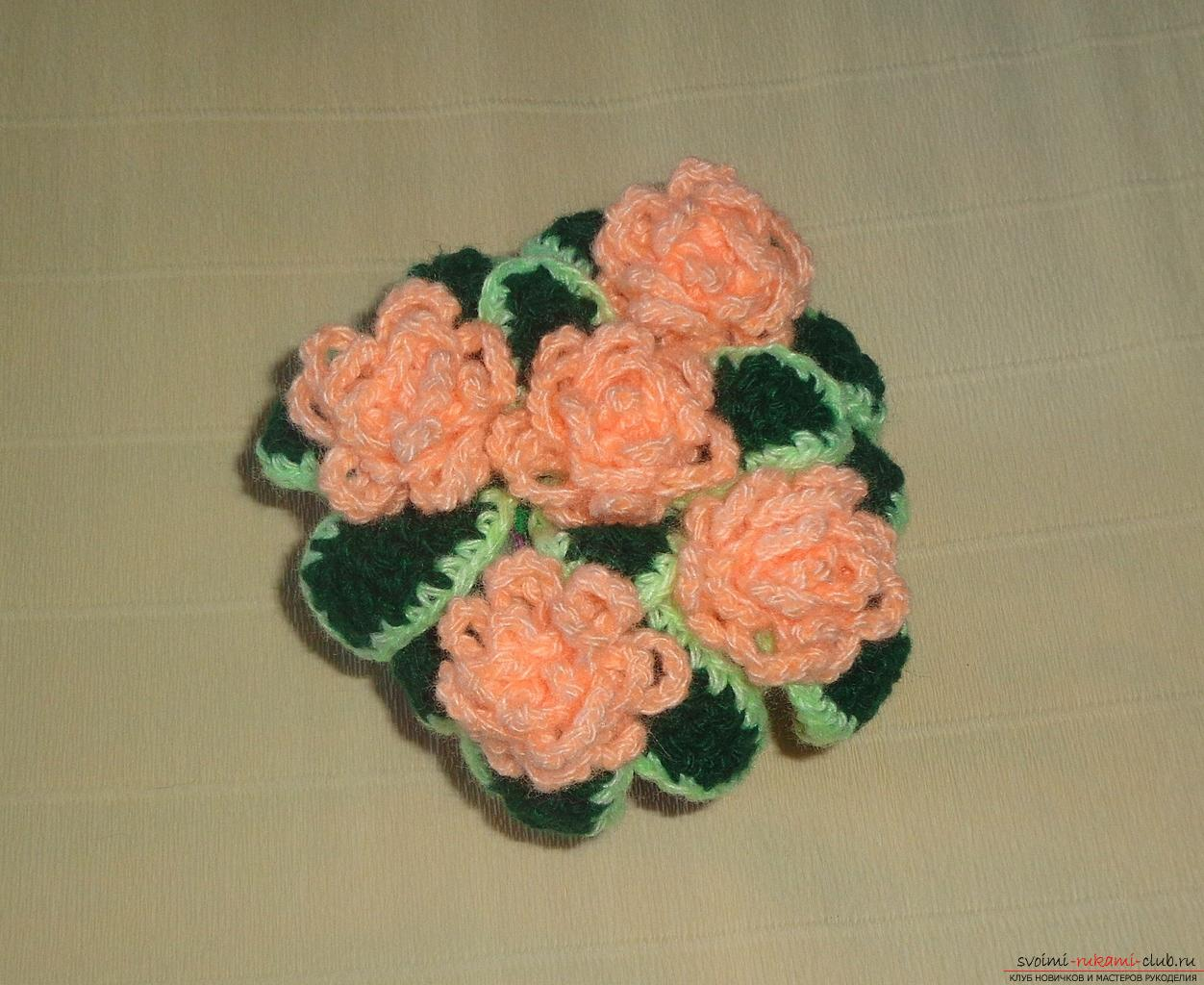 This master class of crochet crochet contains a rose scheme and a description of knitting .. Photo # 34