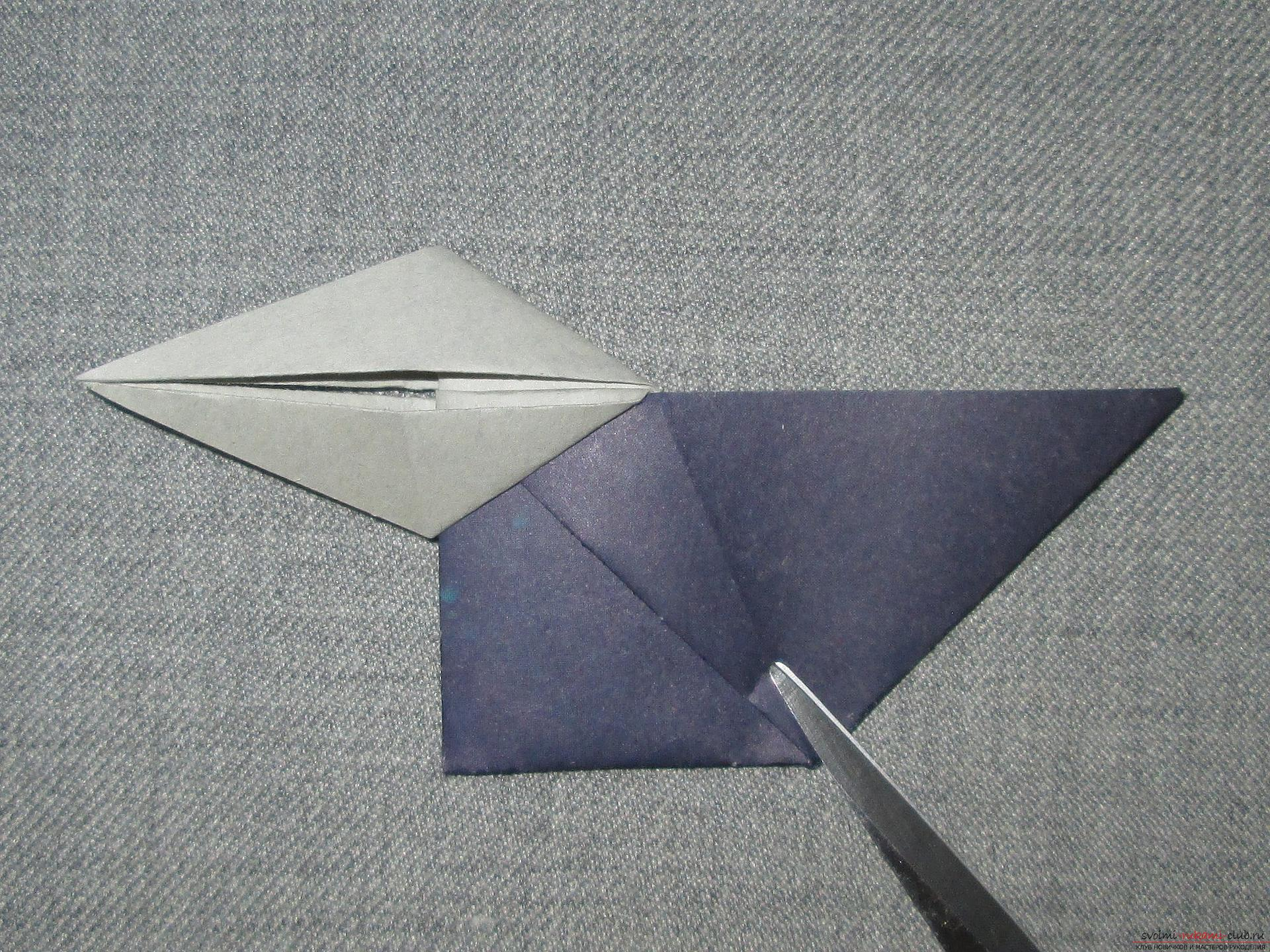 This detailed master class with a photo and description will teach you how to make origami for beginners - origami-crow from paper .. Photo # 11