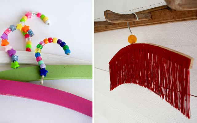 Bright decor of clothes hangers with paints