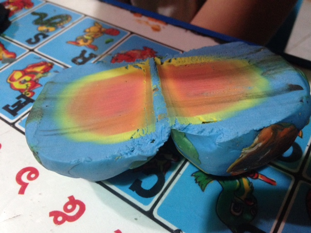 Home education is natural science. Planet, rainbow from plasticine