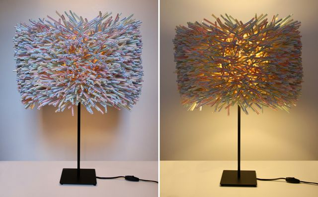 Lampshade from plastic tubes from drinks