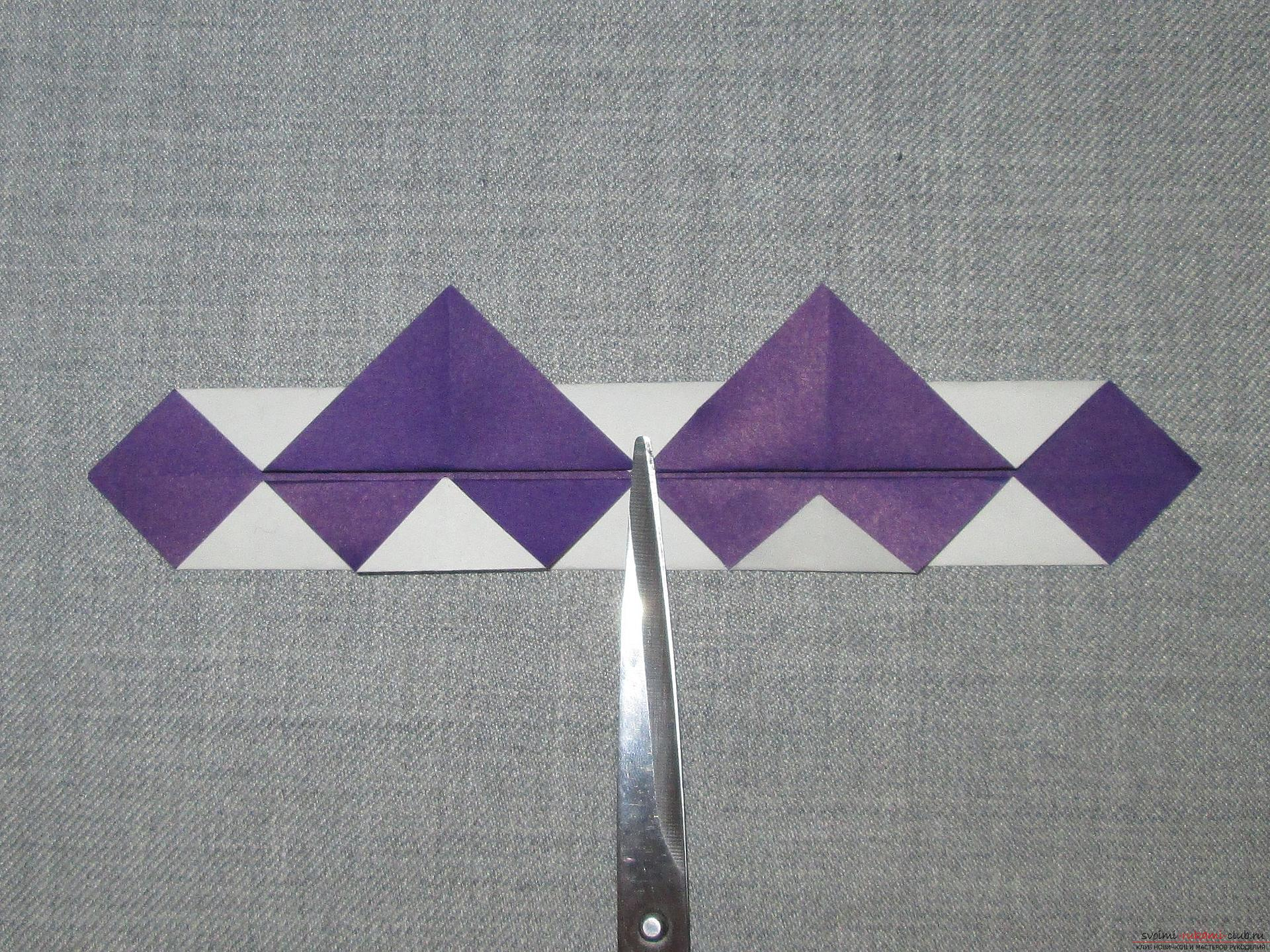 Deze gedetailleerde masterclass met foto en beschrijving leert je hoe je origami voor beginners kunt maken - origami-kroon gemaakt van papier .. Foto # 10