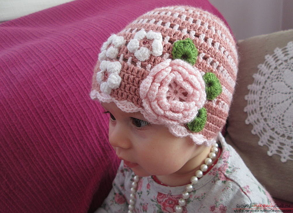 A wonderful pink hat for a girl will be a wonderful gift to your daughter, if you yourself knit her knitting needles. Photo №5
