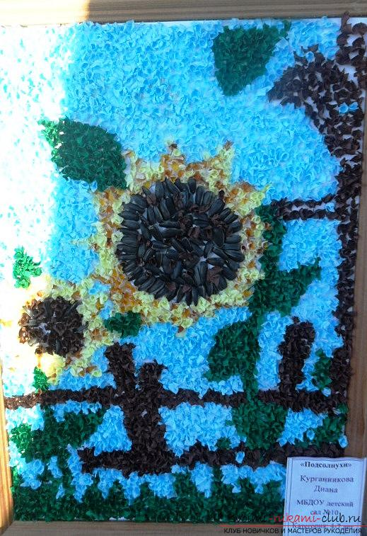 Interesting flowers - sunflowers are created by own hands from different materials. In this master class you will find a fascinating process of creating a sunflower from seeds .. Photo # 1