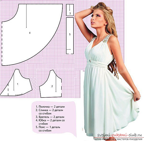 Patterns of a dress, for his tailoring yourself. Photos of the patterns of dresses and their application .. Picture №3