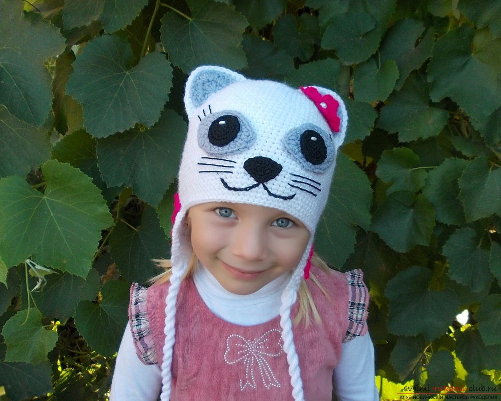 knitted crocheted beanie with ears for the girl. Photo # 2
