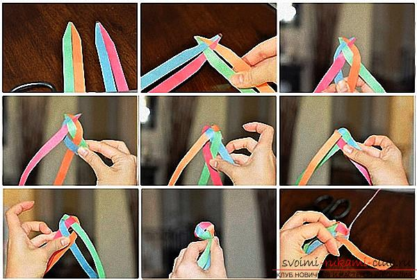 New Year's crafts, the creation of Christmas decorations from paper, various creation of paper balls with their own hands, how to make a beautiful garland of paper with their own hands .. Photo №10