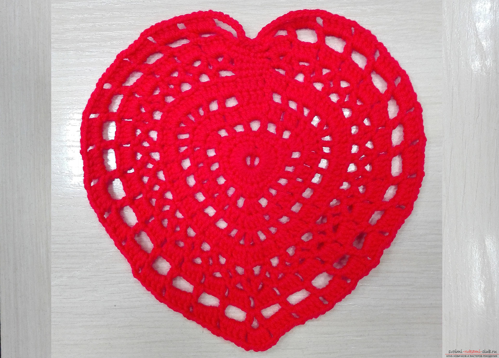 This master class will teach you how to crochet a napkin in the form of a heart for Valentine's Day. Photo №13