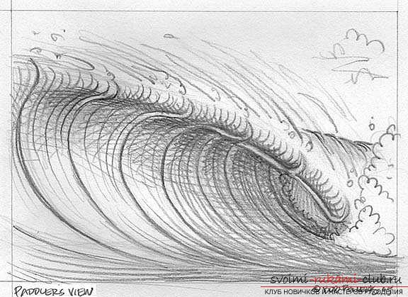 Lesson of drawing a sea wave. Photo Number 14
