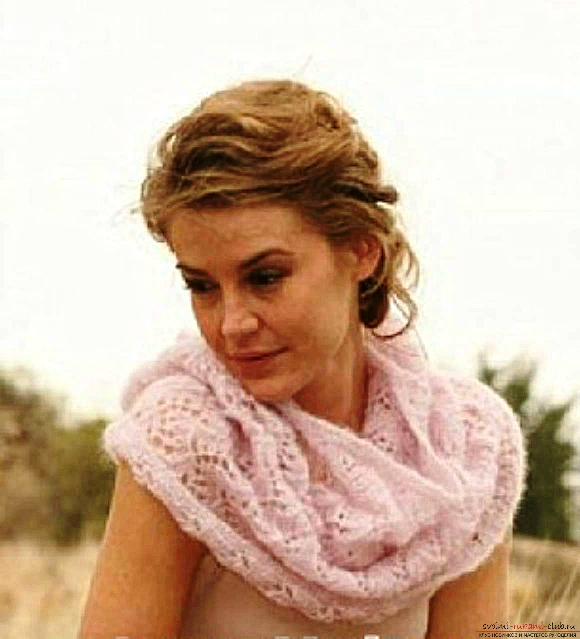 knitted knitting needles with a delicate openwork scarf-yoke. Photo №7
