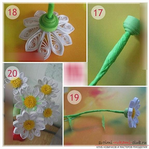 How to make quilling chamomile with fringe with your hands - photo and master class. Photo №6
