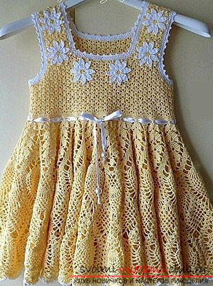 Crochet sarafans for children - a summer dress with daisies. Photo №4