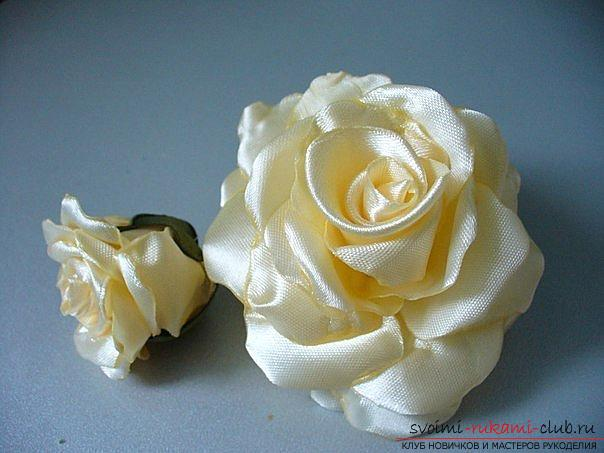 How to make roses from a ribbon with your own hands, step-by-step photos and instructions for creating a flower, seven variants of roses from a ribbon in the form of buds and blossoming flowers. Photo №26