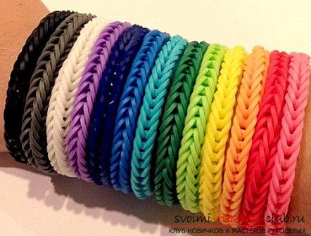 Kinds of bright bracelets of rubber for weaving their own hands with photos and descriptions. Photo №5
