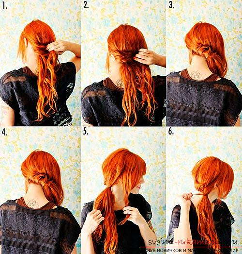A simple and quick hairstyle for medium hair, how to make a quick hairstyle on your side with your own hands .. Photo # 2