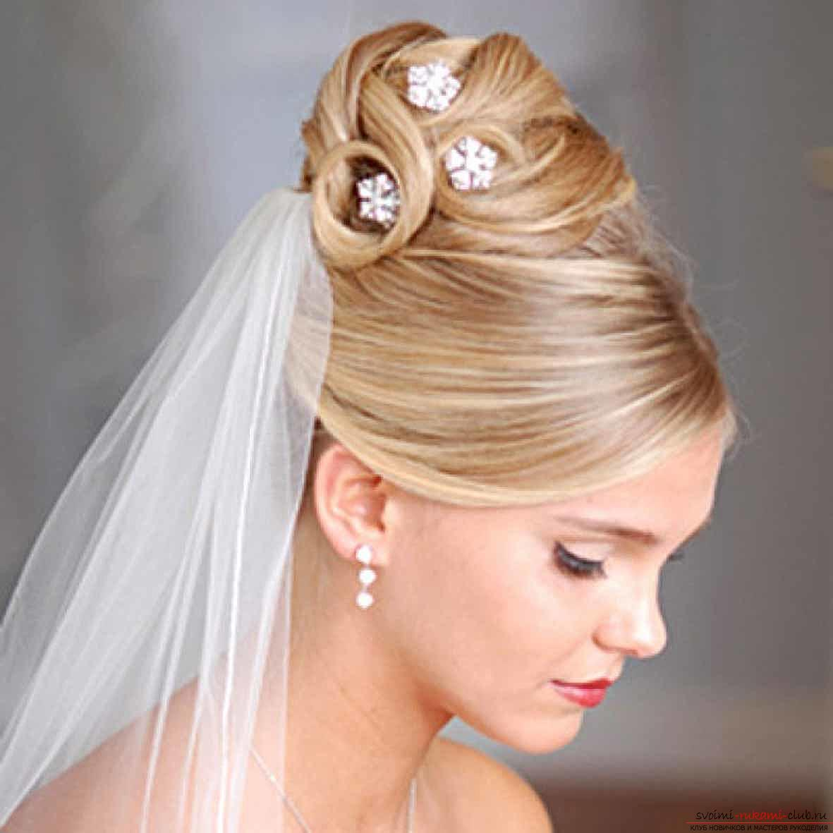 Hairstyles for the bride for the wedding with the veil. Photo №5