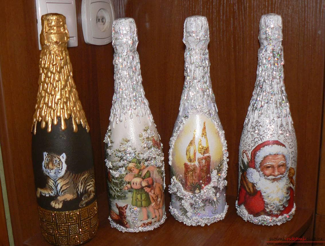 New Year's decoupage of bottles. Photo №4