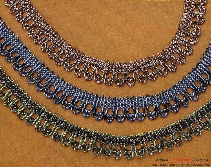 Different schemes of weaving necklaces from beads. Ornaments on the neck, created with the help of different ways of beading .. Photo # 9