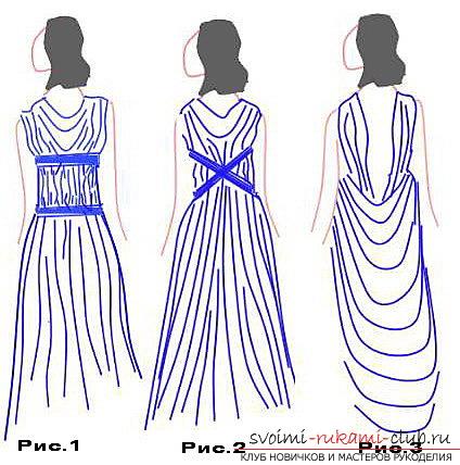 Шиємо швидке плаття в грецькому стіле.Несложная форма легкого сукні. фото №4