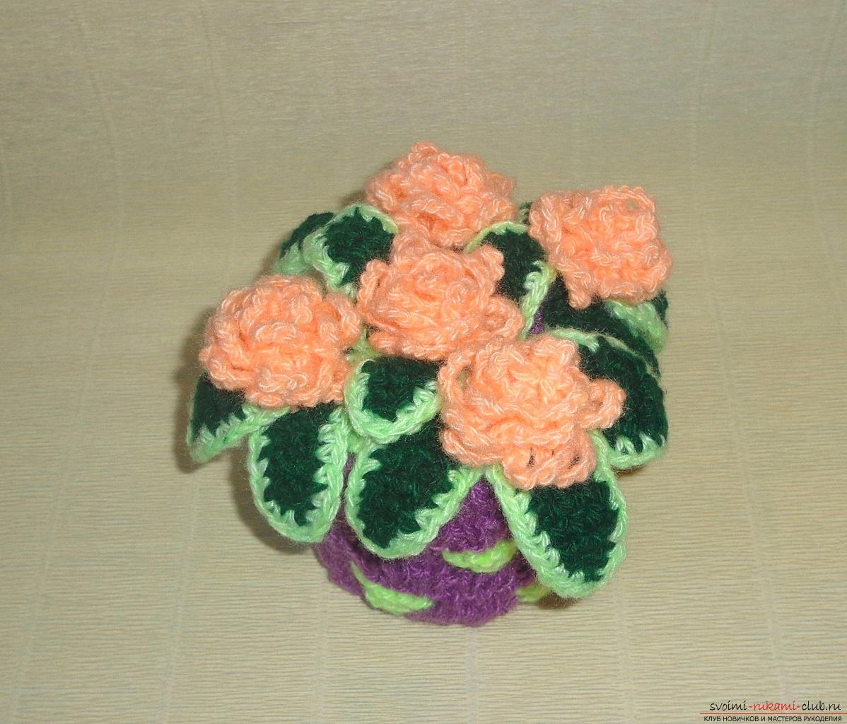 This master class of crochet crochet contains a rose scheme and a description of knitting .. Photo # 1