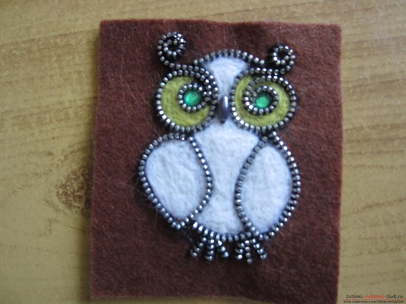 Master-class for making brooches from felt, wool, metal zippers and glue. Photo Number 14