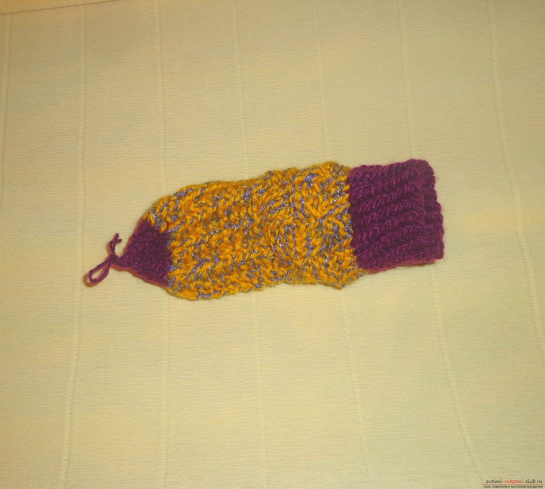 """Photo to the lesson on knitting with knitting needles of children's socks """"Winter"""". Photo number 12"""