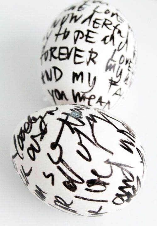 painting of Easter eggs with permanent marker